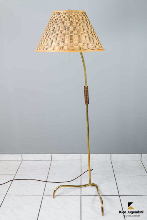 Rupert Nikoll Floor Lamp with Original Wicker Shade, circa 1950s
