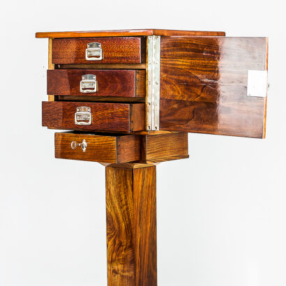 Art Deco Table with 4 Drawers Execution in Polished Nut Wood with Inlay, 1920s