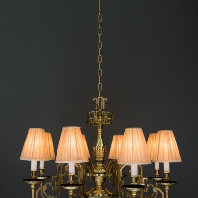 Big Gaetano Sciolari brass saloon chandelier around 1920s