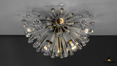Emil Stejnar Brass Crystal Flush Mounts or Sconces, Austria, 1950s