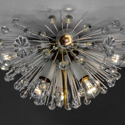 Emil Stejnar Brass Crystal Flush Mounts or Sconces, Austria, 1950s