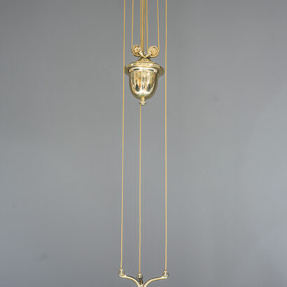 Adjustable jugendstil chandelier with green opal glass