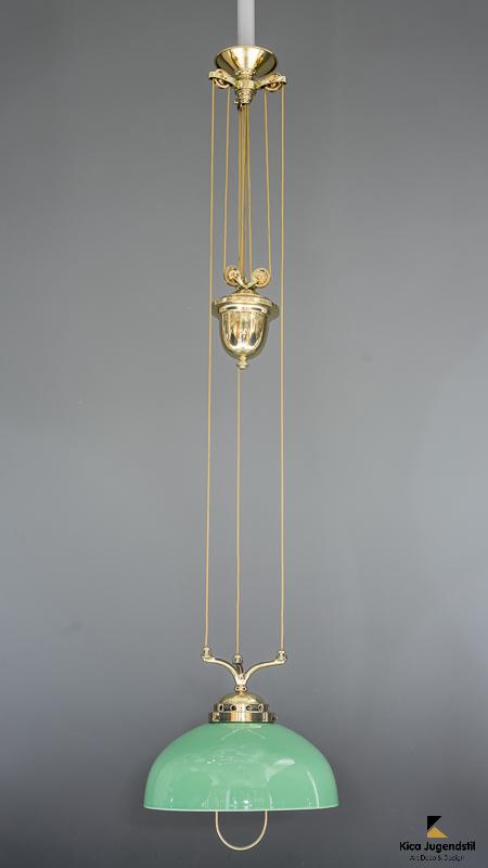 Adjustable jugendstil chandelier with green opal glass