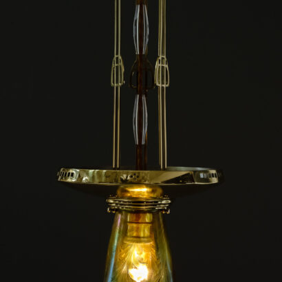 Jugendstil Pendant with Loetz Glass, Vienna, circa 1910s