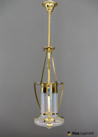 Art Nouveau Flower Ceiling Lamp with Style of Loetz Glass