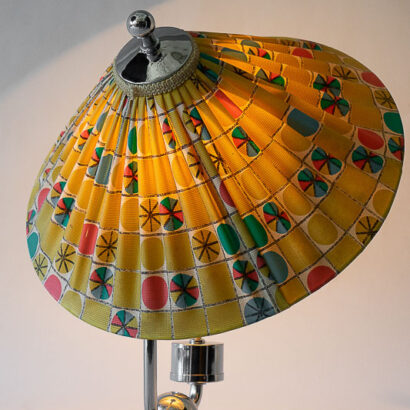 Art Deco Table Lamp Vienna with Original Fabric Shade, circa 1930s