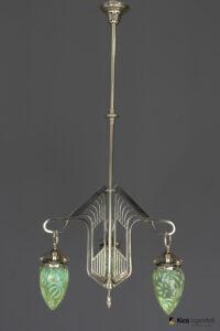 Jugendstil Chandelier Vienna circa 1908 with Original Opaline Glass Shades