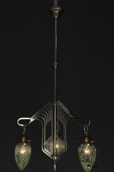 Jugendstil Chandelier Vienna circa 1908 with Original Opaline Glass Shades