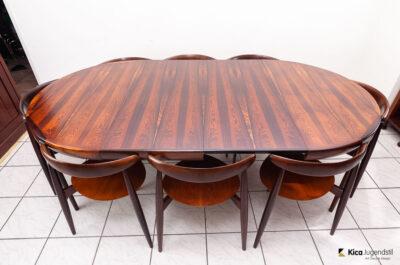 Hans J Wegner 'The Heart' Dining Suite Made in Denmark by Fritz Hansen, 1950s