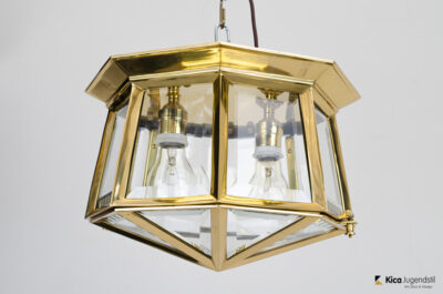 Three Ceiling Lights with Hand-Cut Glass
