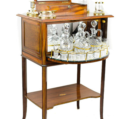 Beautiful and Rare Art Nouveau Bar Table with an Complete Smoking Set
