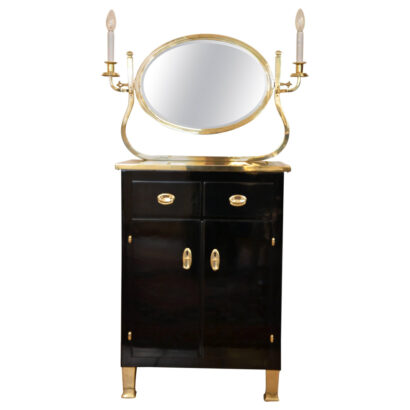 Chest of drawers with mirror stained black