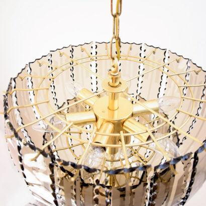 Beautiful Smoked Glass Serrated Chandelier