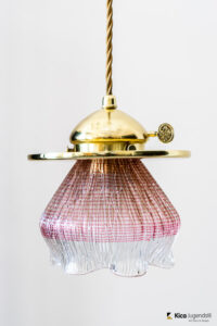 """Leopold Bauer Viennese Hanging Lamp with Loetz Witwe """"Blitzglas"""" Shade"""