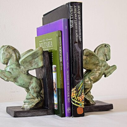 Pair of Art Deco Wienerberger Ceramics Bookholder Showing Pegasus, circa 1925s
