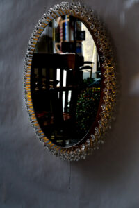 Emil Stejnar for Rupert Nikoll Oval Backlight Mirror Vienna Around 1950s