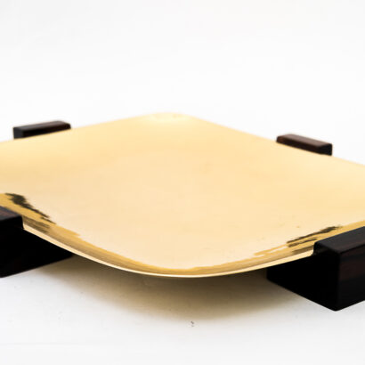 Fruit Bowl Execution in Brass and Wood by WMF, Germany, around 1950s