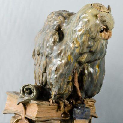 Big Ceramic Golscheider Owl Lamp