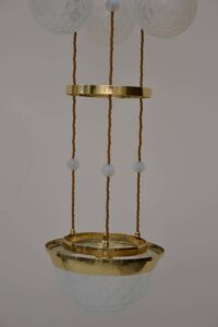 Koloman Moser attributed Bakalowits & Sohne chandelier hammered, with blue opaline glass lamp shades.