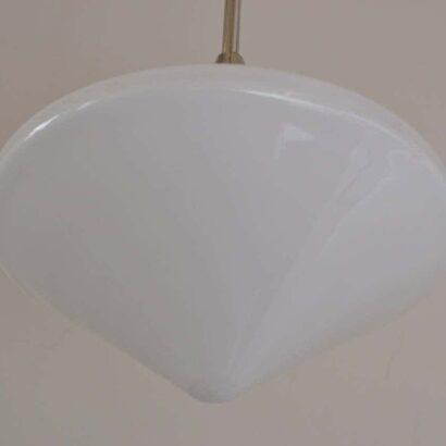 brass nickel-platend chandelier with Opal glass