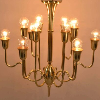 Designed J. T. Kalmar, Vienna, 1950 Chandelier with six arms and twelve bulbs