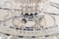 Brass nickel-plated Bakalowits Vienna faceted crystal chandelier, 1960s, Vienna.