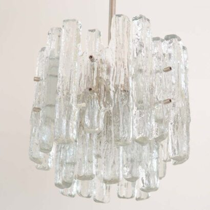 Massive two-Tiered Kalmar Ice Glass Chandelier