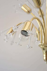 Three Floral Brass and Glass Sputnik Chandelier Pendant by Emil Stejnar, 1950s
