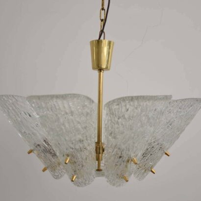 Kalmar Vienna Brass Chandelier with White Textured Glass Lamp Shades