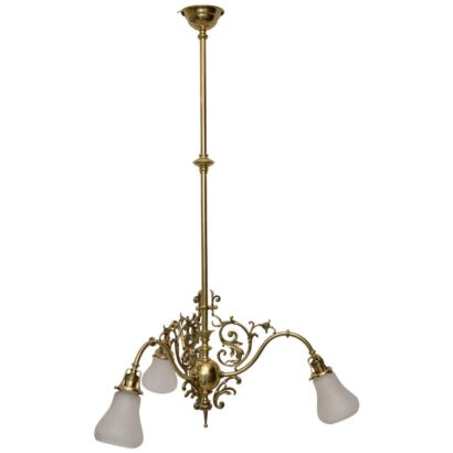 Late 19th Historistic ceiling lamp with original glass shades