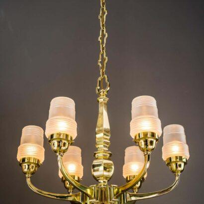 Art Deco chandelier Vienna 1920s with original glass shades