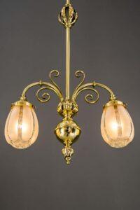Art Deco pendant with original glass shades, Vienna, around 1920s