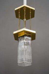 Hexagonal art deco pendant with original glass shade, around 1920s