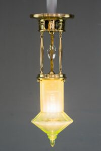 Art Deco Ceiling Lamp Around 1920s with Original Opaline Glass Shade